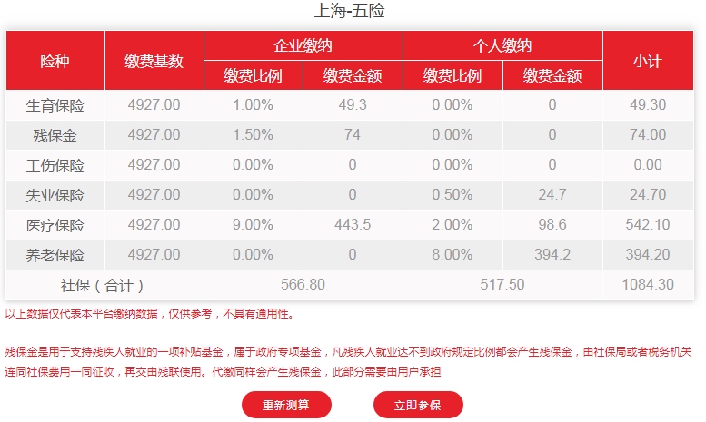 2020年7-12月上海市社保费用明细