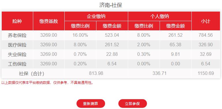 2021年济南市最新社保费用明细