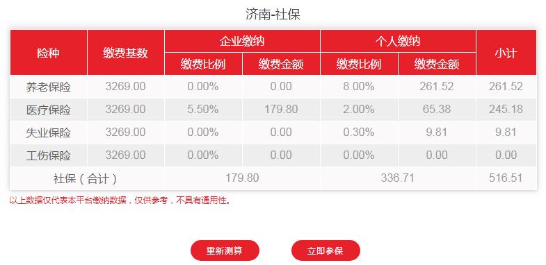 2020年3-6月济南社保费用明细
