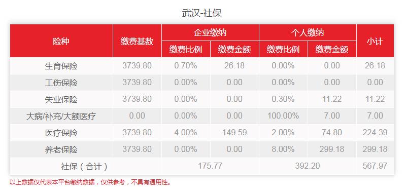 2020年2-6月武汉社保费用明细